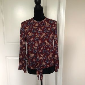 Madewell bell sleeve tie top in antique floral XS